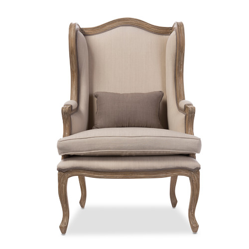 Baxton Studio Oreille French Provincial Style White Wash Distressed 2-Tone Beige Upholstered Armchair by Wholesale Interiors