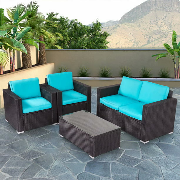 Kinbor 13pcs Outdoor Patio Furniture Pe Rattan Wicker Rattan Sofa Sectional  Set with Blue Cushions