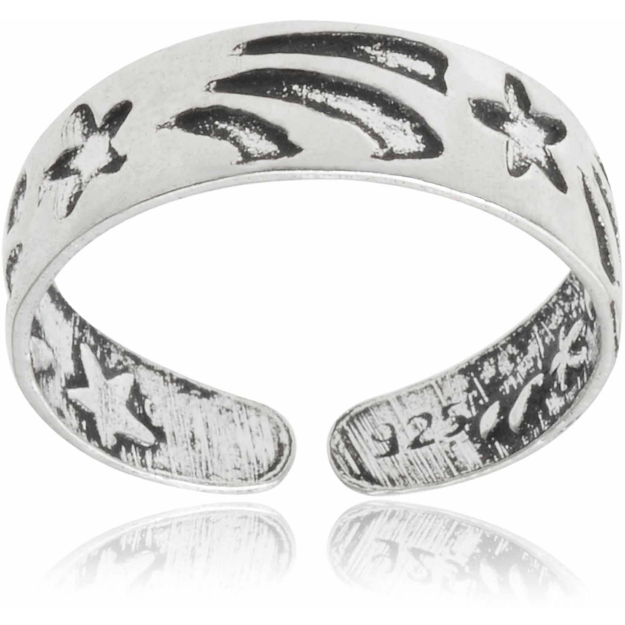 Brinley Co. Women's Sterling Silver Adjustable Oxidized Star Fashion Toe Ring
