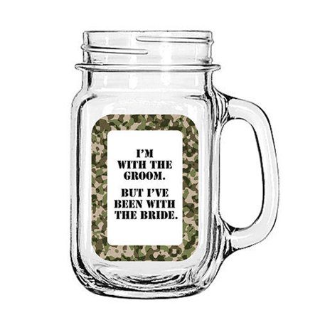 Vintage Glass Mason Jar Cup Mug Lemonade Tea Decor Painted Funny-I'm with the Groom. But I've been with the Bride. - Painted Tea Cup