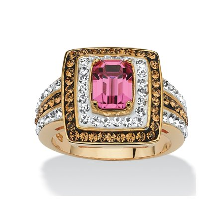 - Emerald-Cut Fuschia Crystal Cocktail Ring MADE WITH SWAROVSKI ELEMENTS 18k Gold over Sterling Silver