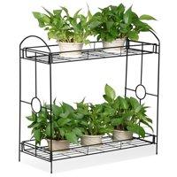 Ktaxon Black 2-Tier Iron Flower Stand Plant Stand Rack w/Tray Design Garden & Home Indoor/Outdoor