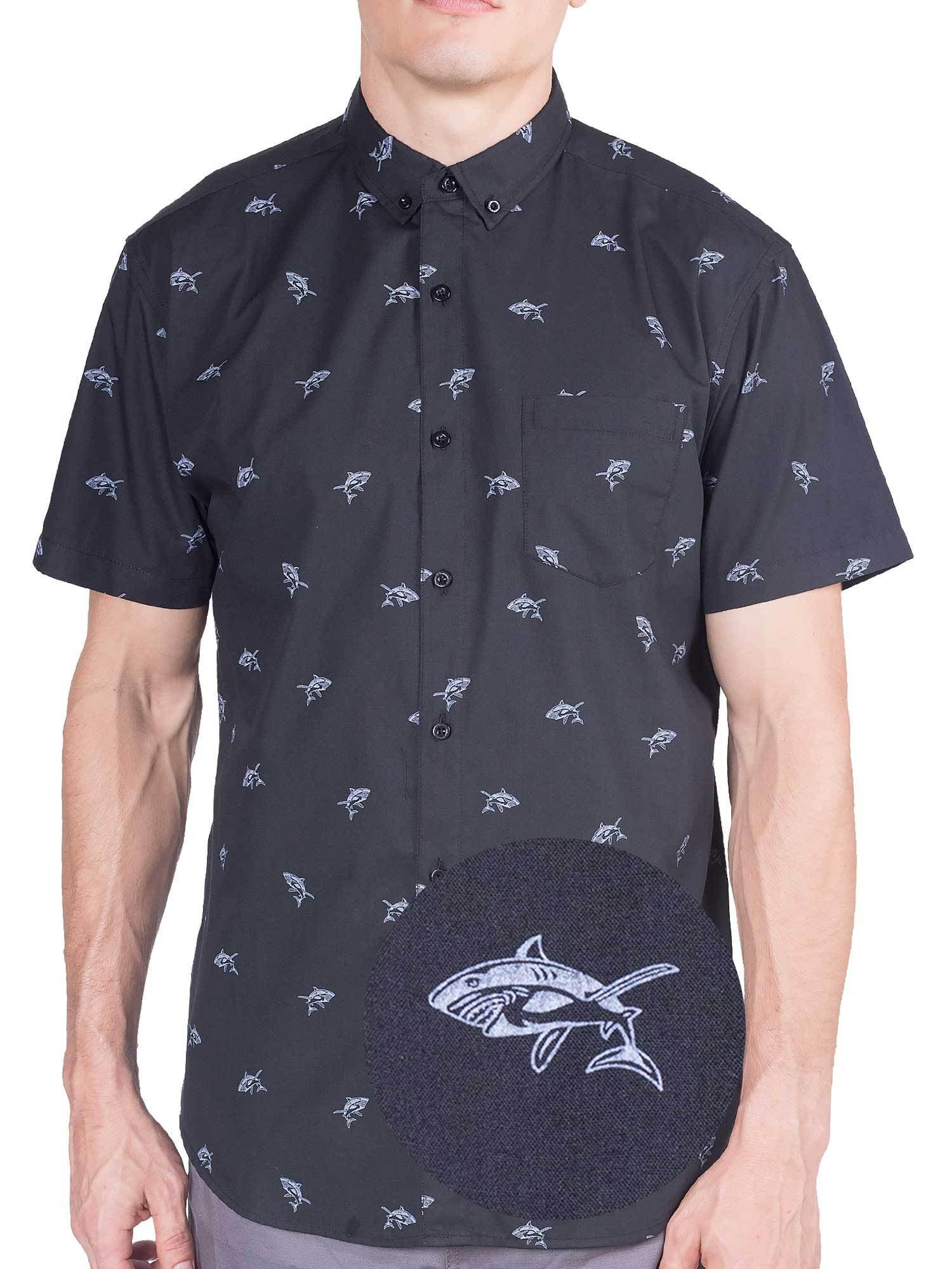 Mens Summer 3D Ink Print Slim Short Sleeve Button Down Shirt Tops