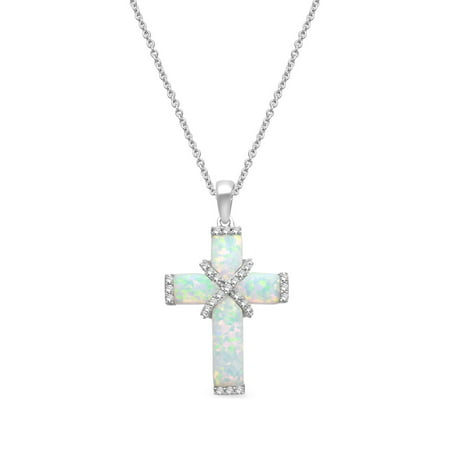 - 3.17 Carat T.G.W. Created Opal and Created White Sapphire Sterling Silver Cross Pendant, 18