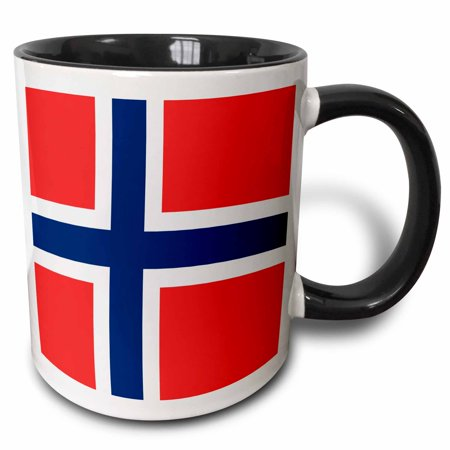 3dRose Flag of Norway - Norwegian red blue white Scandinavian Nordic Cross - Scandinavia world country - Two Tone Black Mug, 11-ounce