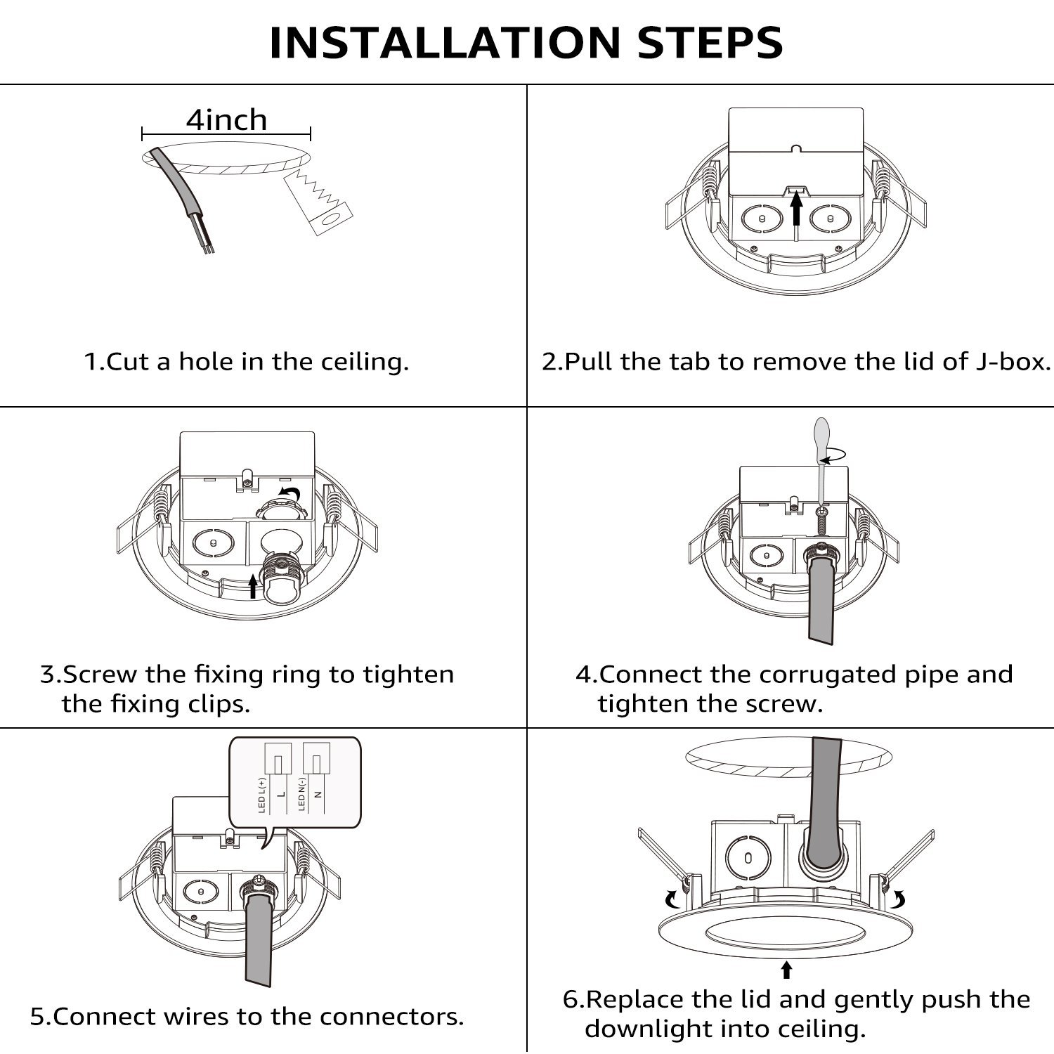 Torchstar 4 Inch Slim Recessed Ceiling Light 9w 65w Equivalent Bulb Wiring Diagram Leviton 660 Dimmable Airtight Downlight With Junction Box Ul Energy Star Certified 650lm