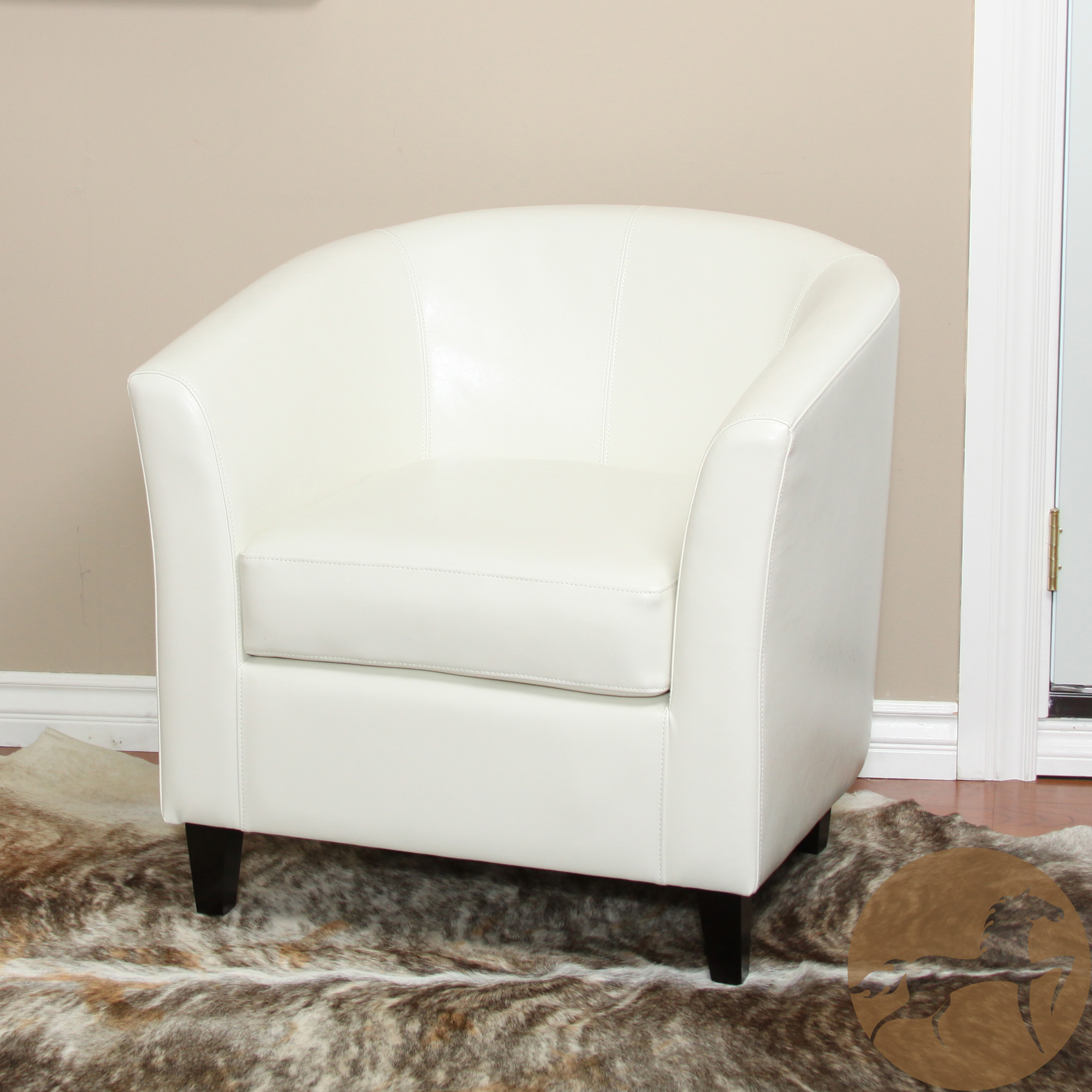 Noble House Pricilla Bonded Leather Ivory Club Chair