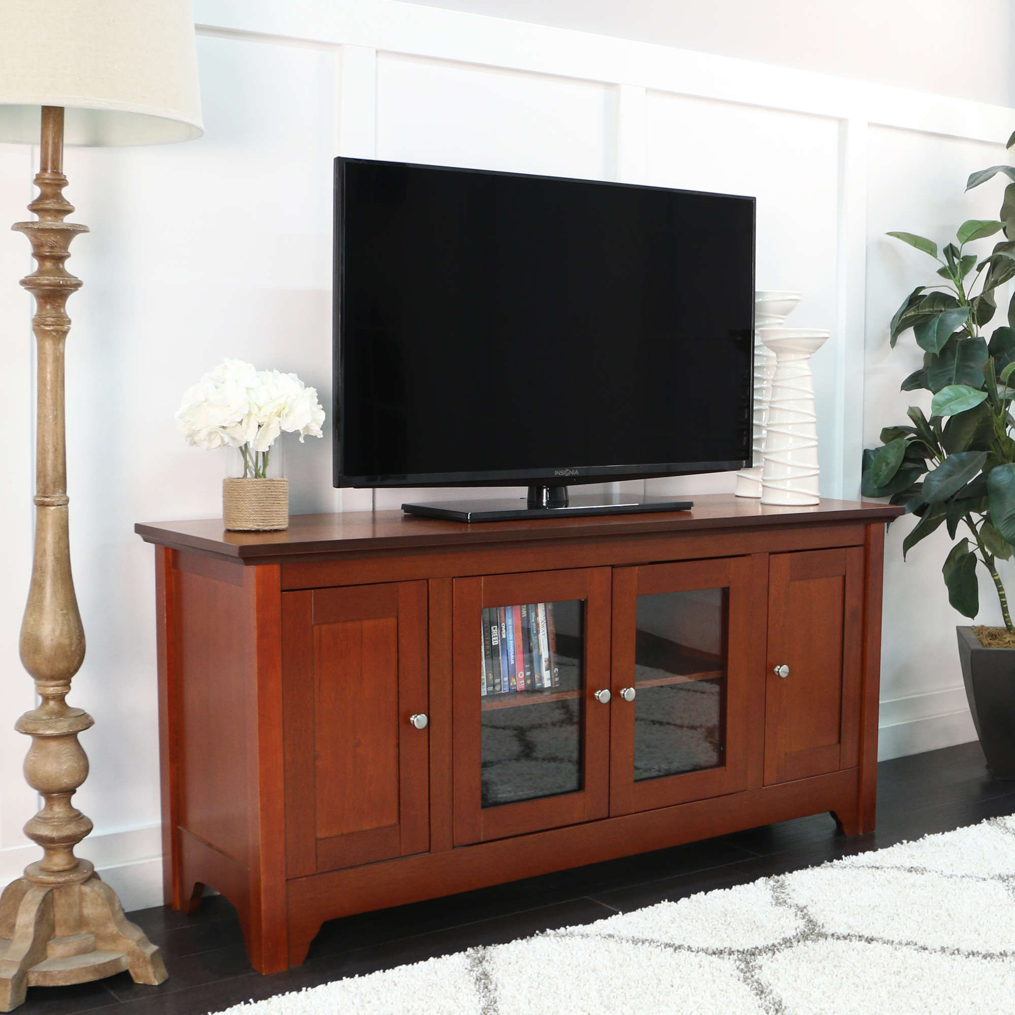 "52"" Black Wood TV Stand for TVs up to 55\ by Walker Edison"