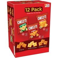 Cheez-It Variety Snack Pack, White Cheddar, Original & Cheddar Jack, 1 oz, 12 Count