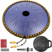 VEVOR purple Steel Tongue Drum 14 Notes Dish Shape Drum 14 Inches Dia. Manual Percussion Steel Tongues 14 Notes Steel Tongue Handpan Drum with Rope Decoration and Mallets,Bag, Music Book