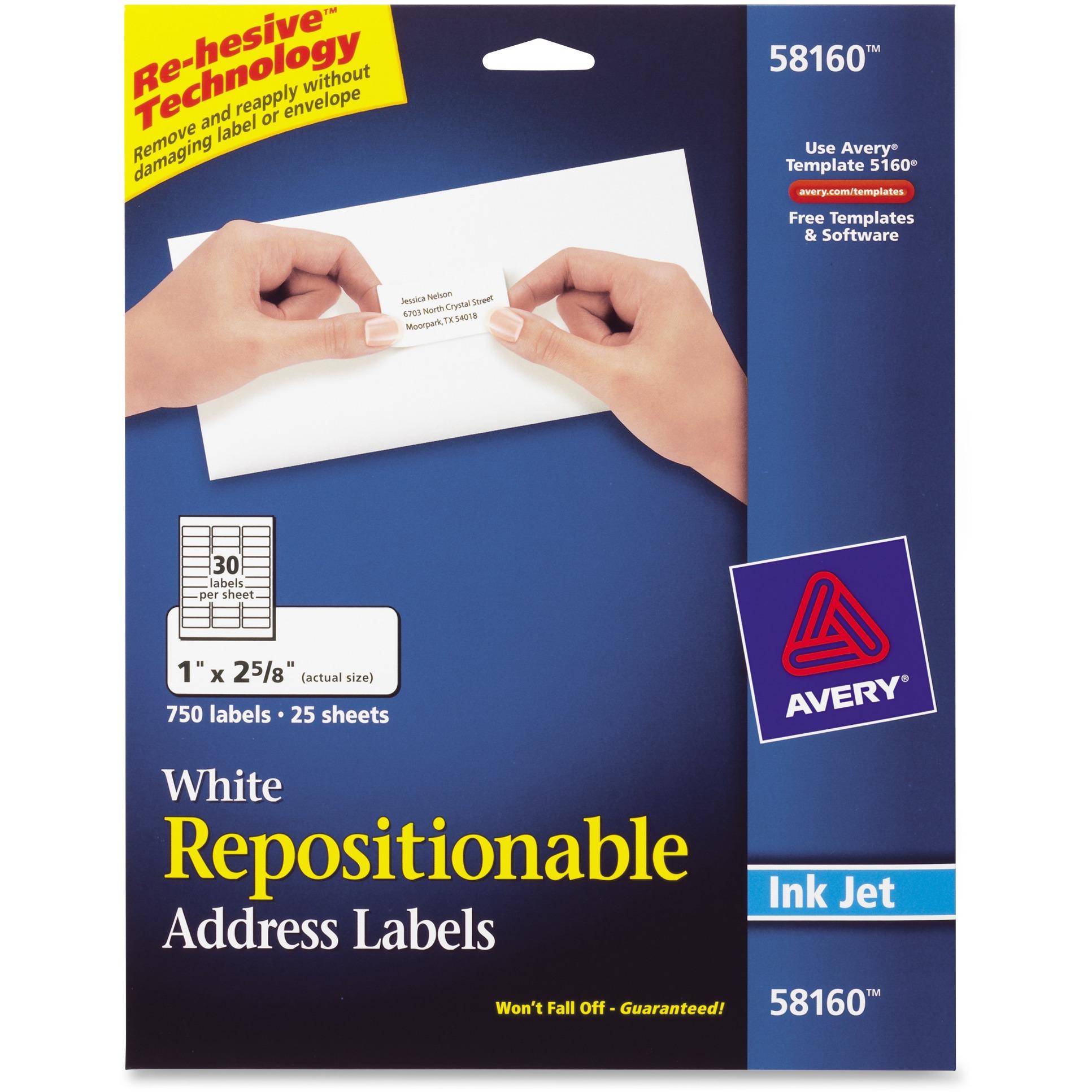 Avery Repositionable Address Labels, Inkjet/Laser, 1 x 2 5/8, White, 750/Box