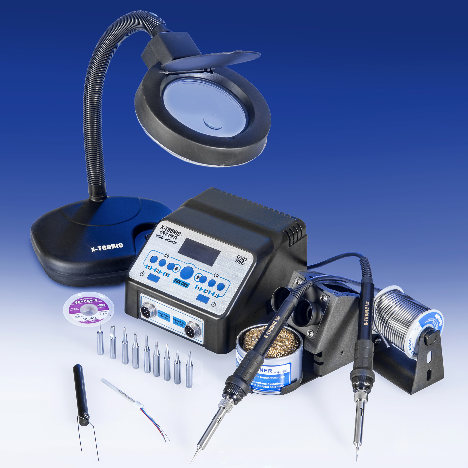 X-Tronic 8010-XTS DUAL Digital Soldering Station With Programmable 60 Watt Soldering Irons ESD Safe, C F, 10... by X-Tronic International, Inc.