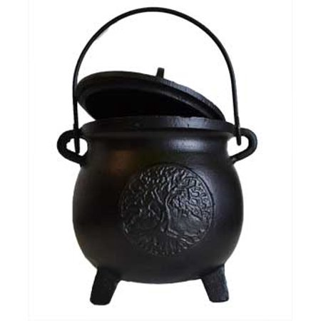 Party Games Accessories Halloween Séance Cauldrons Tree of Life Cast Iron Three Legged with Handle and Lid Large 8