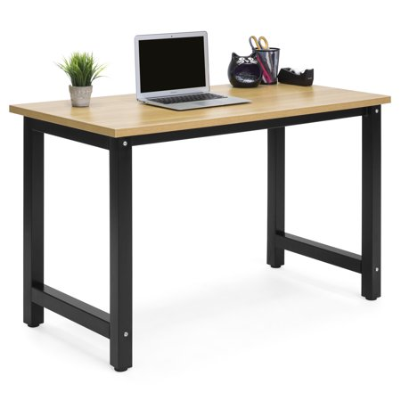 Work Zone Table Desk (Best Choice Products Large Modern Computer Table Writing Office Desk Workstation - Light Brown/Black)