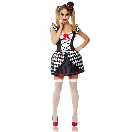 Black White Checkered Harlequin Villain Adult Womens Halloween Costume