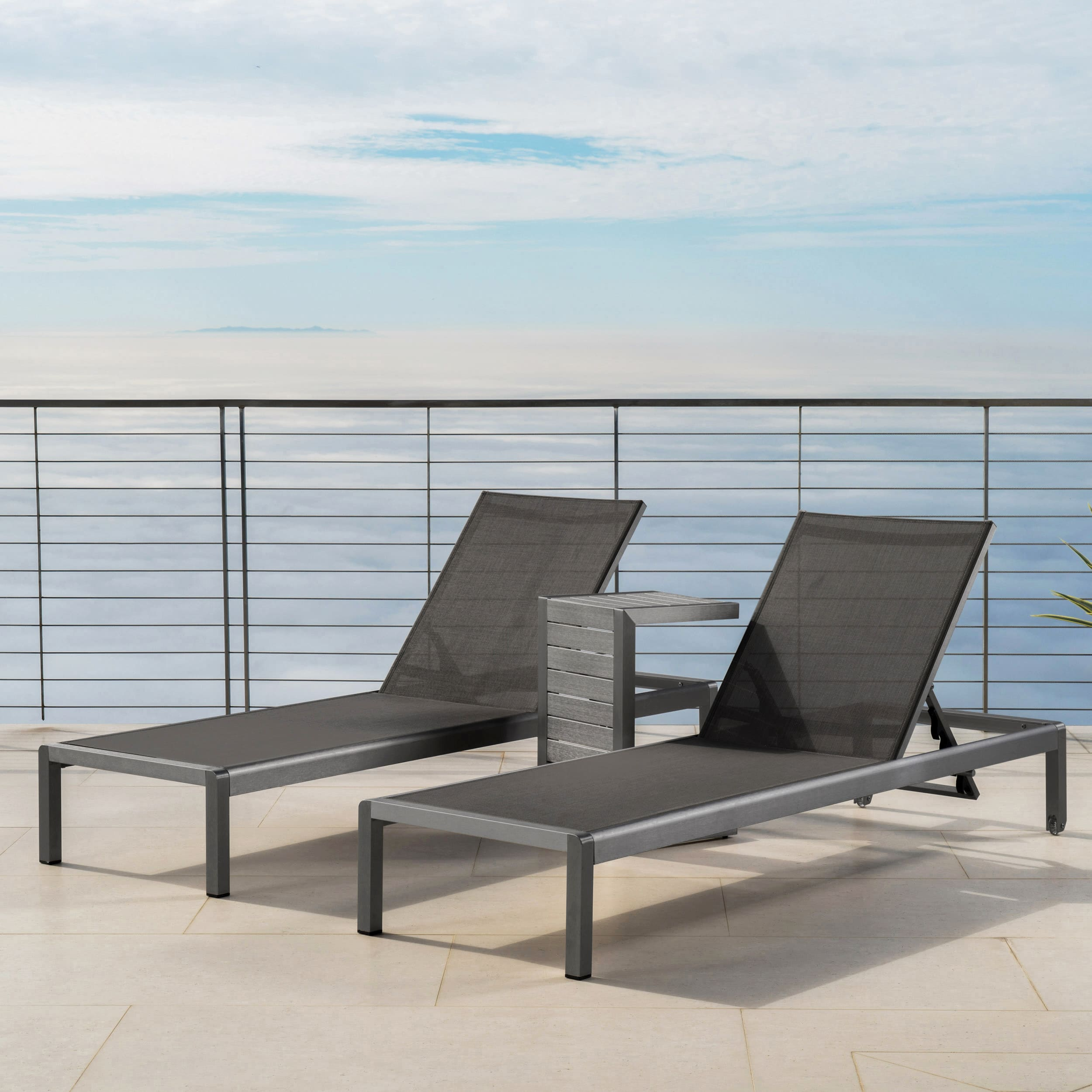 christopher knight home cape coral outdoor aluminum 3 piece chaise lounge set by. Black Bedroom Furniture Sets. Home Design Ideas