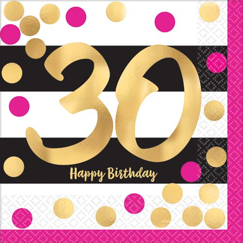 Over the Hill 'Hot Pink and Gold' 30th Birthday Small Napkins (16ct)