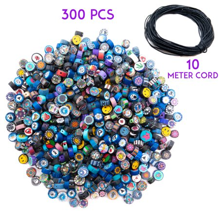 300 Pieces Fimo Disc Beads for Jewelry Making and 10 Meters Wax Cord - DIY Kit for Adults – Great for Necklaces, -