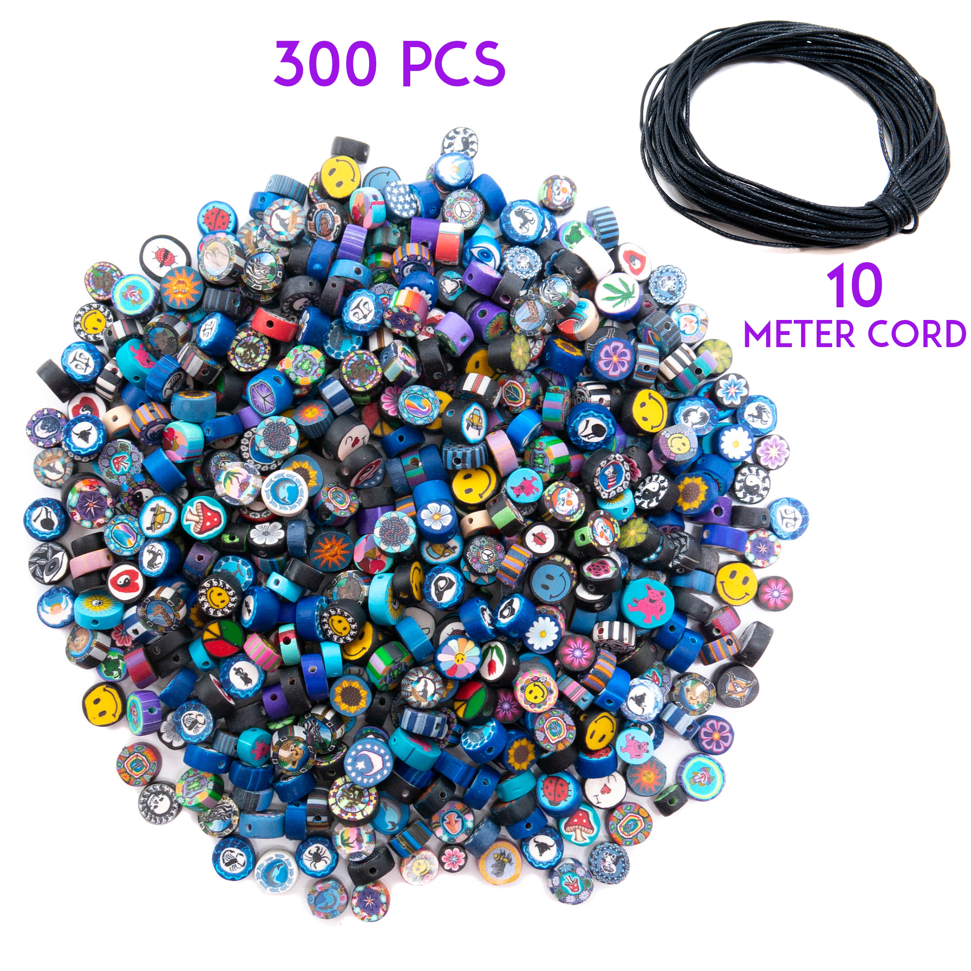 300 Pieces Fimo Disc Beads for Jewelry Making and 10 Meters Wax Cord - DIY Kit for Adults – Great for Necklaces, Bracelets