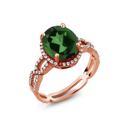 4.15 Ct Green Mystic Quartz White Created Sapphire 18K Rose Gold Plated Silver Ring (Green Quartz Ring)