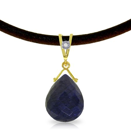 ALARRI 7.81 Carat 14K Solid Gold Attraction Sapphire Diamond Necklace with 24 Inch Chain Length.