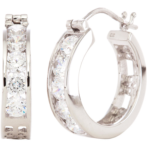 3.9 Carat T.G.W. White Cubic Zirconia Sterling Silver Hoop Earrings