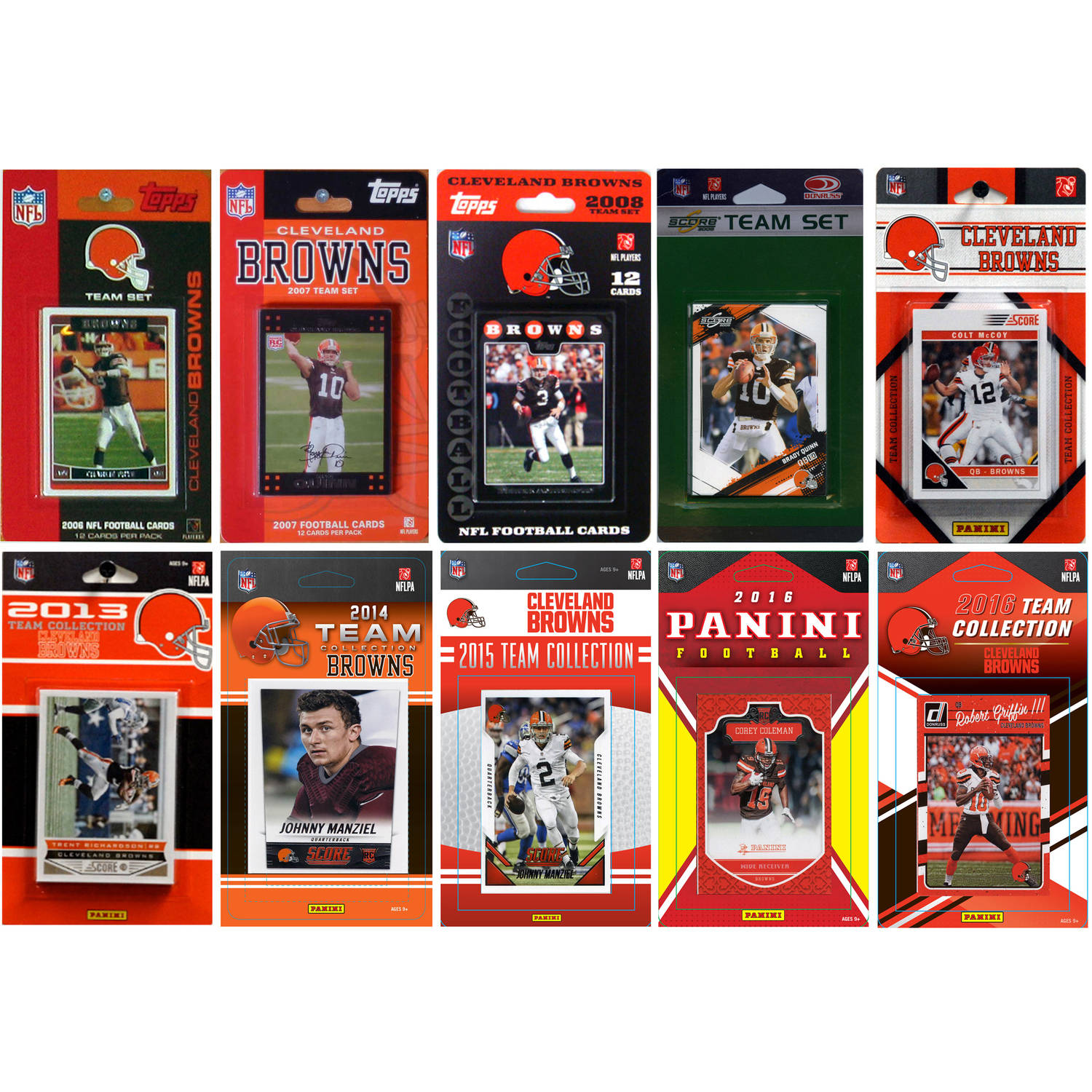 C & I Collectables NFL Cleveland Browns 10 Different Licensed Trading Card Team sets