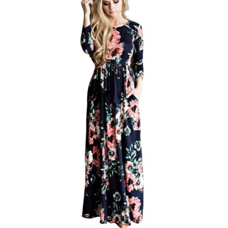 Women Floral Print Long Maxi Boho Dress Long Sleeve Evening Party Beach Sundress
