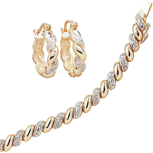 "1/4 Carat T.W. Diamond 18kt Gold-Plated San Marco Tennis Bracelet, 7.5"", with Diamond Accent Hoop Earrings"