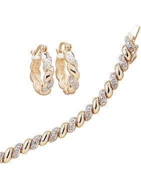 "1/4 Carat T.W. Diamond 18kt Gold-Plated San Marco Tennis Bracelet, 7.5"", with Diamond Accent Hoop Earrings"