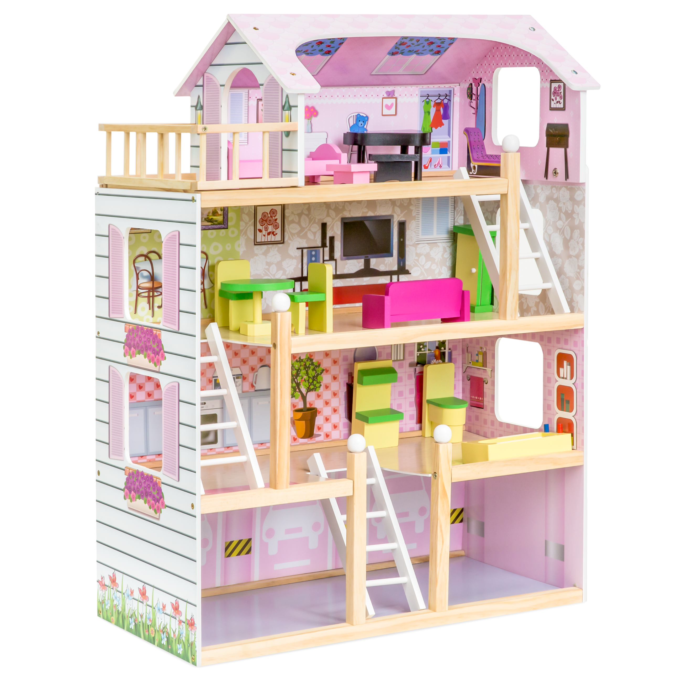 Best Choice Products 4 Level 32.25in Kids Wooden Cottage Uptown Dollhouse  W/ 13