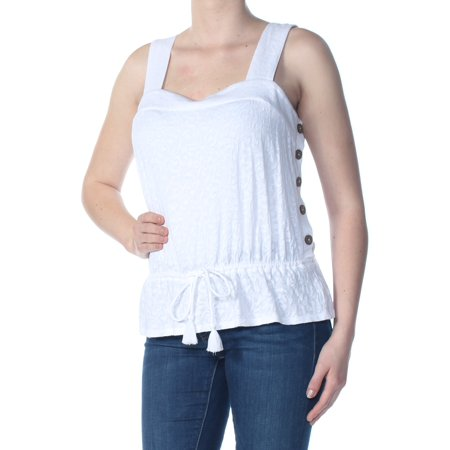 LUCKY BRAND Womens White Embroidered Tie Side Buttons Floral Spaghetti Strap Sweetheart Neckline Cocktail Top  Size: M