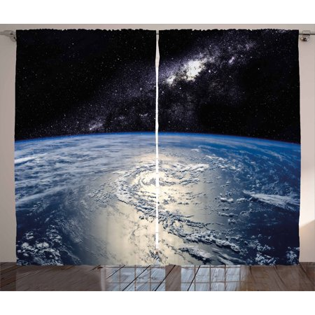 Earth Curtains 2 Panels Set, Majestic Universe Image with Earth and Distant Nebula Clouds Waters, Window Drapes for Living Room Bedroom, 108W X 84L Inches, Light Blue Light Grey Black, by Ambesonne ()