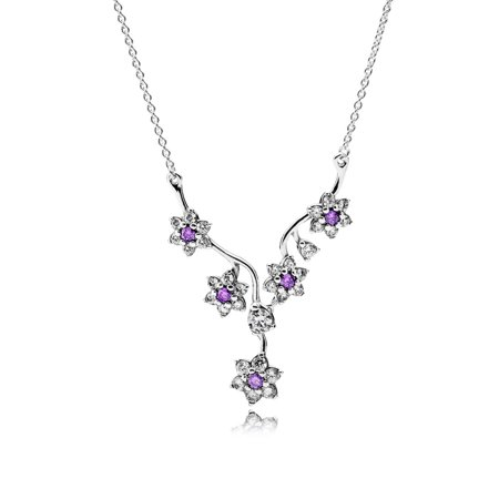45 Cm Necklace - Necklace Forget Me Not w/Purple and Clear CZ Necklace & Pendants 45 cm 590519ACZ-45
