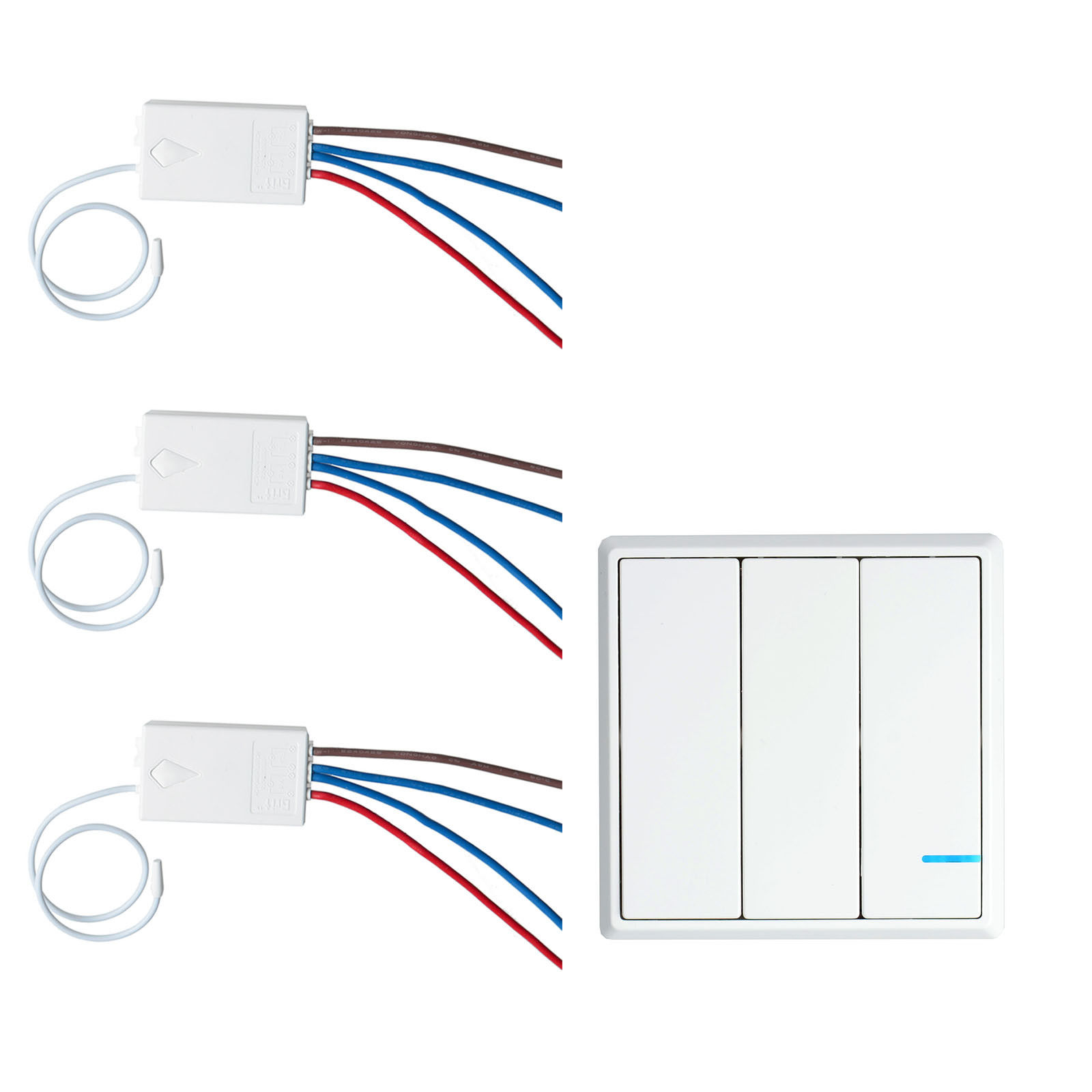 GREENCYCLE 1PK 3-Way Switch 3PK Wireless Receiver Control Lamps Fans Devices Appliances On/off