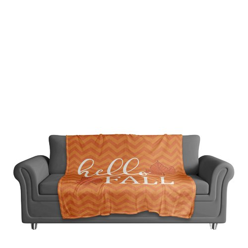 The Holiday Aisle Hello Fall Chevron Coral Fleece Throw