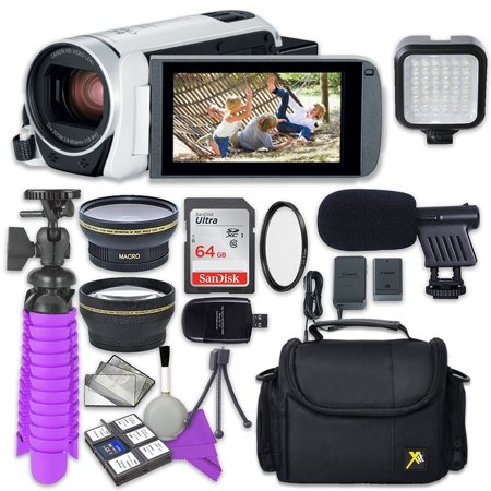 Canon VIXIA HF R800 Camcorder (White) with Sandisk 64 GB SD Memory Card + 2.2x Telephoto Lens + 0.42x Wideangle Lens + Video Accessory Bundle