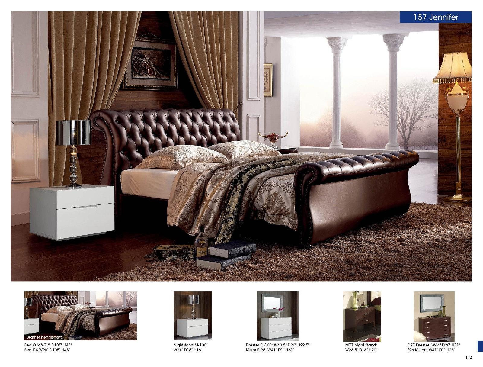 ESF Jennifer M100 Contemporary Luxury Dark Brown Leather King Size Bedroom  Set