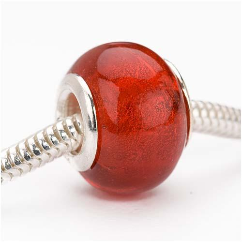 Murano Style Glass Silver Foil Lampwork European Style Large Hole Bead - Red 14mm (1)