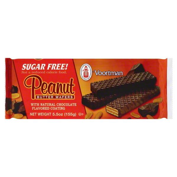 Voortman Sugar-Free Peanut Butter Chocolate Flavor Coated Wafer Cookies, 5.5 Oz.