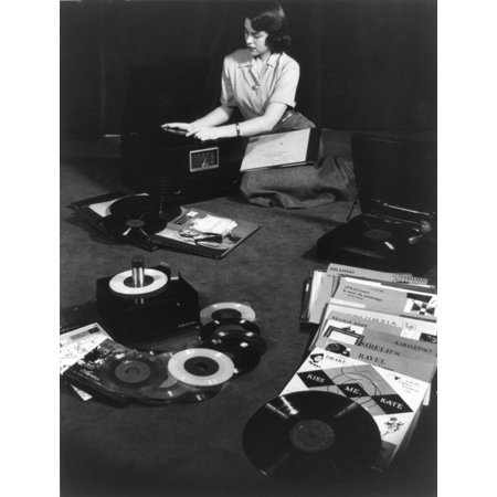 Record Players Matching The Three Types Of Records Available In 1949 Young Woman Seated On Floor With Record Players And 78 RPM(Revolutions Per Minute) History ()