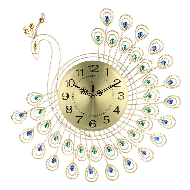 21 inch Non Ticking Silent 3D Large Wall Clock Luxury Diamonds Gold Peacock Creative Decorative Metal Gift for Office/Kitchen/Bedroom/Living Room Decoration Golden
