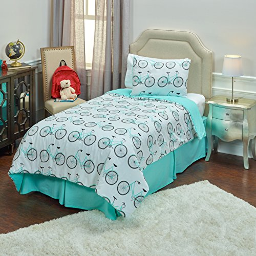 Rizzy Home Bicycle Aqua Cotton Full/ Queen  Kids Comforter Set