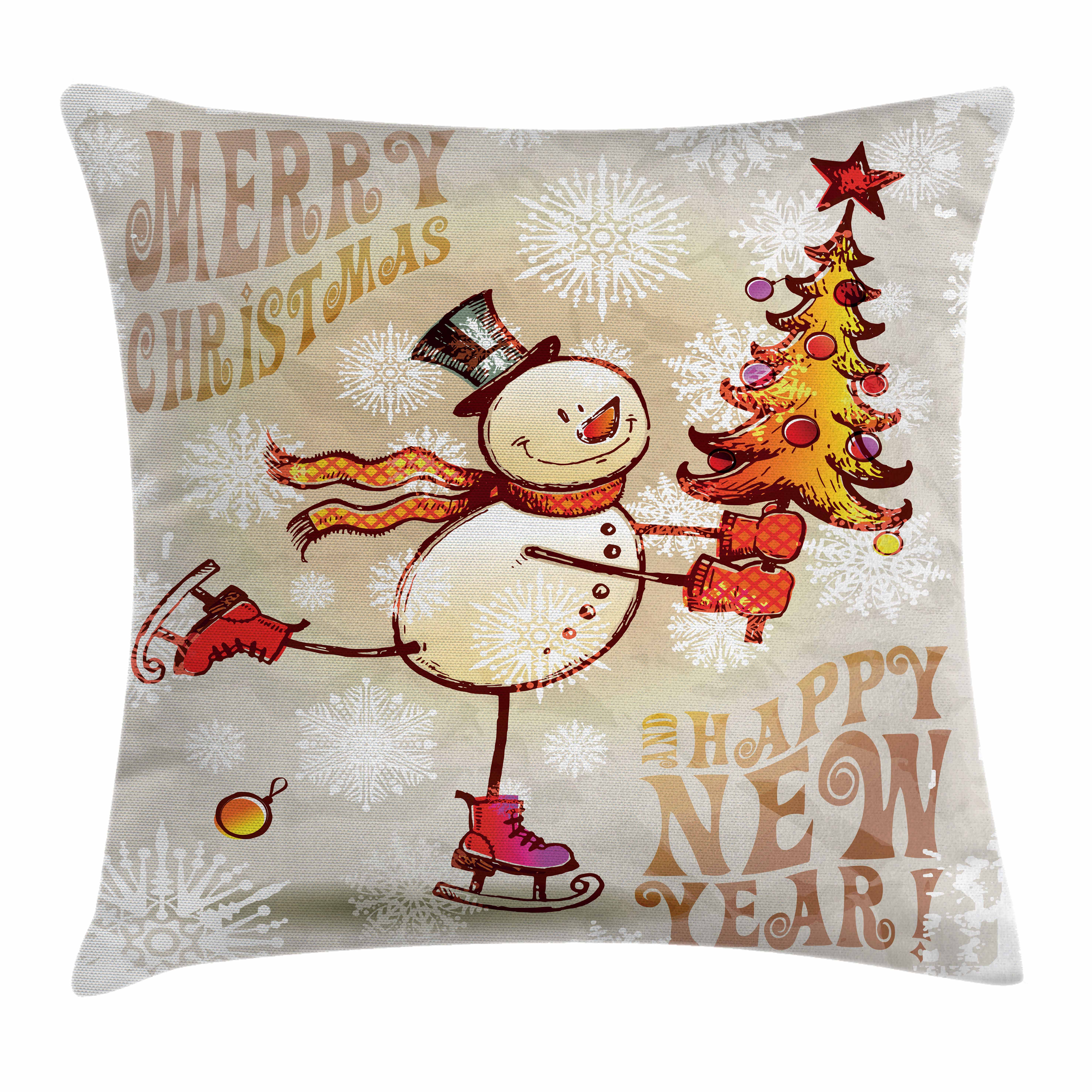 Christmas Throw Pillow Cushion Cover, Skating Happy Snowman with Christmas Tree Cheerful Hand Drawn Ornate Snowflakes, Decorative Square Accent Pillow Case, 16 X 16 Inches, Multicolor, by Ambesonne
