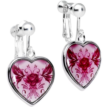 Pink Tribal Flowering Rose Heart Clip On Earrings