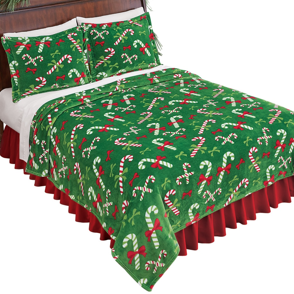 Holiday Theme Candy Canes Fleece Blanket Coverlet, King, Green by Collections Etc