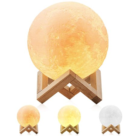 3D LED Moon Lamp Night Light with 3 Color Modes Wooden Stand 5.9 Inches (3 Color Led Light)
