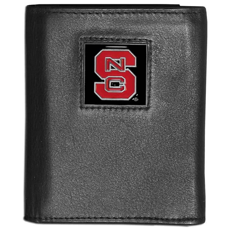NC State Wolfpack Deluxe Leather Tri-fold Wallet Packaged in Gift Box (F)