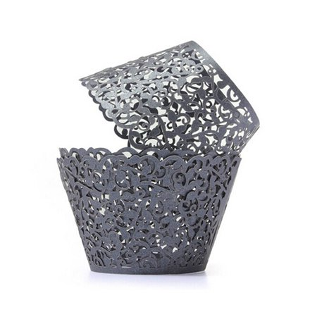 50pcs Laser Cut Cupcake Wrappers Decor Wedding Birthday Party Baby Shower Wrap (Black) for $<!---->