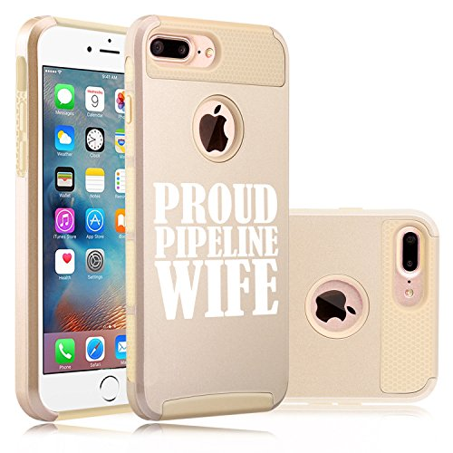 For Apple iPhone (7 Plus) Shockproof Impact Hard Soft Case Cover Proud Pipeline Wife (Gold)